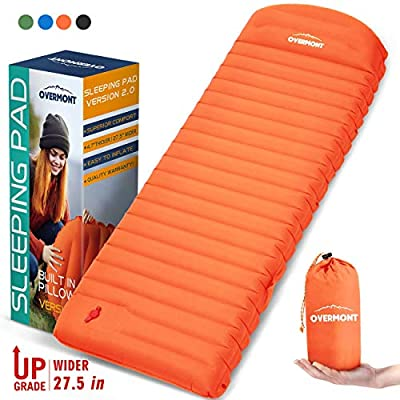 Overmont Large Sleeping Pad (74.8X 27.6in) with Pillow 4.7in Extra Thickness Mat Ultralight Inflatable Camping Air Mattress for Backpacking Hiking Car Travel Waterproof Compact with Carrying Bag