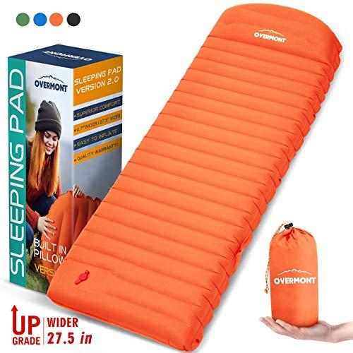 Overmont Camping Isomatte Ultraleichte Isomatte Selbstaufblasbare Luftmatratze mit Kissen für Oudoor Wanderungen Backpacking Reisen Zelte Strand
