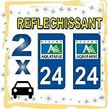 2 Stickers REFLECTIVE rétroréfléchissant style Plaque immatriculation AUTO24