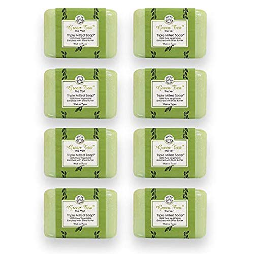 Bisous de Provence French Soap Green Tea | The Vert French Milled Soap enriched with Shea Butter | 100% Pure Vegetable Based | Made in France | Paraben Free | 7 oz, 200g Soaps (8 Bars)