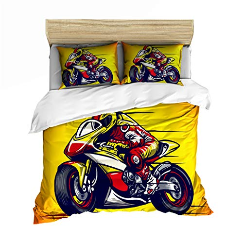 Sticker Superb Bedding Set Children's Duvet Cover Set 3D Motorcycle Digital Printing Black Gray Flame Motorcycle Pattern Soft Motorbike Boy Teen Quilt Cover with Pillowcase (Moto 1, 2Pcs 135x200 cm)