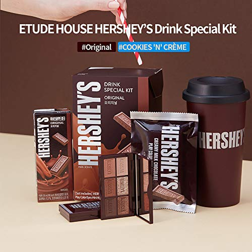 ETUDE HOUSE HERSHEY's Chocolate Drink Kit #Cookie & Cream - Play Color Eyes Mini Eyeshadow Palette & Tumbler - Special Limited edition