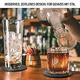 DINING concept I Filz Glasuntersetzer rund 10er Set mit Box & GRATIS Handy Filzuntersetzer I Premium Filz Untersetzer Gläser abwaschbar I Design Tassen Untersetzer Glas Filz Bierdeckel dunkelgrau - 5