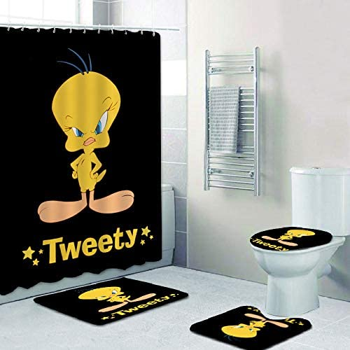 TILLIEE Tweety Bird Looney Tunes 4 Piece Bath Set Shower Curtain Set with Non-Slip Rug, Toilet Lid Cover, Bath Mat and 12 Hooks, Waterproof Shower Curtain Set for Bathroom