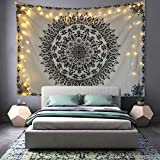 Athorbot Bohemian Tapestry Wall Hanging, Hippie Mandala Tapestry Black and White Floral Wall Art Collage Dorm Home Decor Beach(80 x 60 inch)