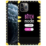 Square iPhone 11 Pro Max Case for Girls Women Glitter Golden Outline Cool Words Pattern Design Bumper Anti-Slip Shockproof Protective Cover for iPhone 11 Pro Max 6.5 Inch 2019