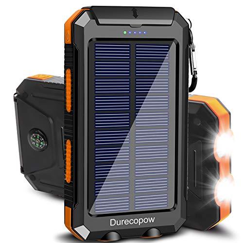 Solar Charger, Durecopow 20000mAh Portable Outdoor Waterproof Solar Power Bank, Camping External...
