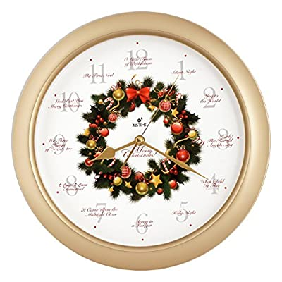 Elegant 14-inch 12 Song of Carols of Christmas Wreath Melody Wall Clock, Sweep Silent Quartz, Home Wall Deco Clock