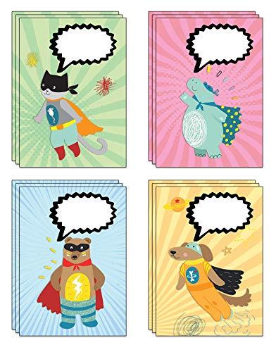 Postkarten-Set, Superhelden-Sprechblase, ideal für eine individuelle Nachricht oder Belohnungs-Postkarten, 32 Stück