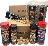 BBQFAM EZ Smoker Tube & BBQ Rub Seasoning Kit, Includes: 12' EZ Smoker Pellet Tube, 2 bags Apple Pellets & Eco-starters, Neil's Sarap BBQ Dayum & Hot Dayum, Mad Raccoon Barbecue Seasoning and Rub & Smokin' Hawt
