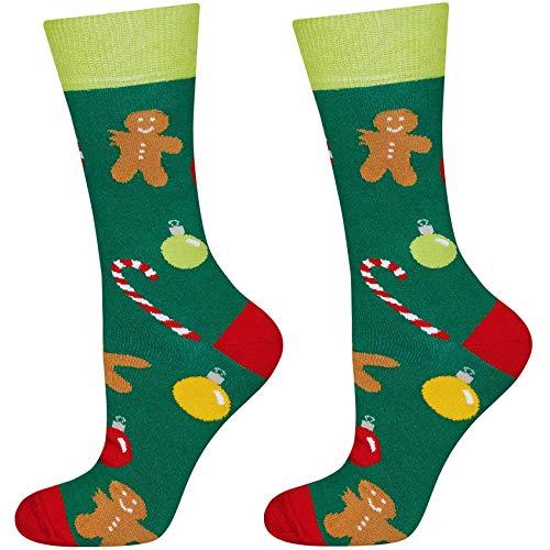soxo Calcetines Navideños de Colores de Hombre | talla 40-45 EU | Calcetines con Dibujos Originales para Hombres | Divertido Regalo Navideño | Calcetines Calientes Algodón | Invierno y Navidad