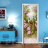 ZOOINB Etiqueta De Vinilo Mural De Puerta 3D Flor Arbusto Animales Pavo Real Mural Pegatinas De Pared Autoadhesivo Impermeable Removible Arte Papel Pintado Para Niños Sala De Estar Dormitorio 77X200Cm