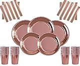 Rose Gold Party Decorations Decorazioni per Feste in Oro Rosa 81 Pezzi Set per Feste Foglio di Carta Modelli di Tazze Tovaglioli con matite Colorate assortite gratuite per 16 Persone
