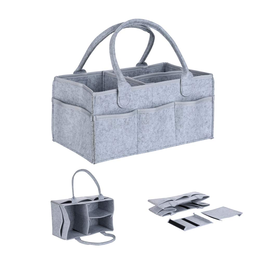 Baby Diaper Caddy Wipes Bag Organizer, Portable Changing Pads Nursing Shower Storage Basket, Adjustable Felt Gift Tool Bin for Nursery Table Car Travel, Boy Girl Unisex Grey (1 Pack)