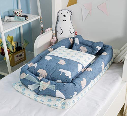 BC-4【防水シーツ付き】ベッドインベッド 枕 掛け布団付き 布団セット 添い寝ベッド ベビー布団 ベビーベッド ベッドガード (北極熊・掛け布団付き)
