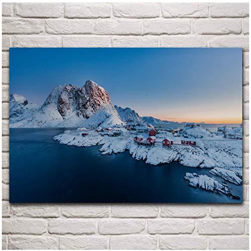 Pintura en Lienzo decoración Noruega Círculo Ártico Pueblo de Pescadores Paisaje Naturaleza Sala...