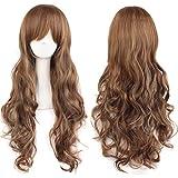 YEESHEDO 70cm/ 28 pulgada onda largo peluca de pelo rizado completo para la Mujer, larga cosplay anime traje pelucas para chicas (Marron oscuro)