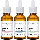 PraNaturals Kit de Sérums Faciales 3x30ml - Ácido Hialurónico, Retinol y Vitamina C - Borra las...