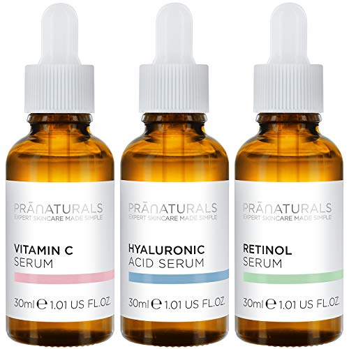 PraNaturals Skin Perfector Face Serum Kit 3x30ml – Hyaluronic Acid, Retinol & Vitamin C – Skin Care Anti Ageing Lotion, Reduces fine lines and wrinkles, Enriched with natural oils and vitamins