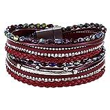 StarAppeal Armband Wickelarmband mit Perlen, Strass, Ketten und Flechtelement, Magnetverschluss Silber Matt, Damen Armband (Rot)