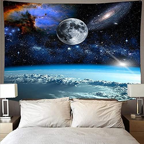 Luna tapiz colgante de pared paisaje cielo azul tapiz psicodélico fondo tela de pared manta toalla de playa tapiz A16 180x200cm