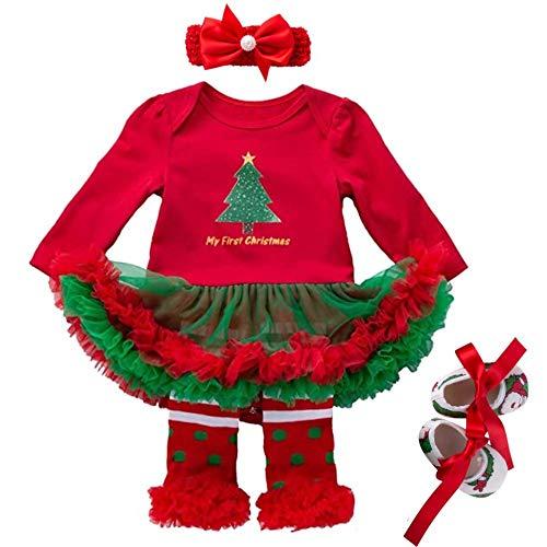 ZXYSHOP 4 Piezas Conjuntos Bebe Niña Navidad Arbol Tutu Mi Primera Navidad Ropa Fiesta Vestido Tutu Conjuntos con Mangas Largas Venda de Pelo y Calcetines Zapatos Medium
