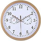 Orologio da parete FANJIANI, 30 cm, radiocontrollato, multifunzione, termoigrografo, temperatura, umidità, display silenzioso Oro