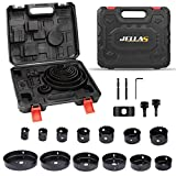 Hole Saw Set, Jellas 17PCS Hole Saw Kit with 13Pcs Saw Blades, Max Size 6' and Min Size 3/4', 2 Mandrels, 1 Installation Plate, Ideal for Soft Wood, PVC Board, Plastic, KJ01-SD