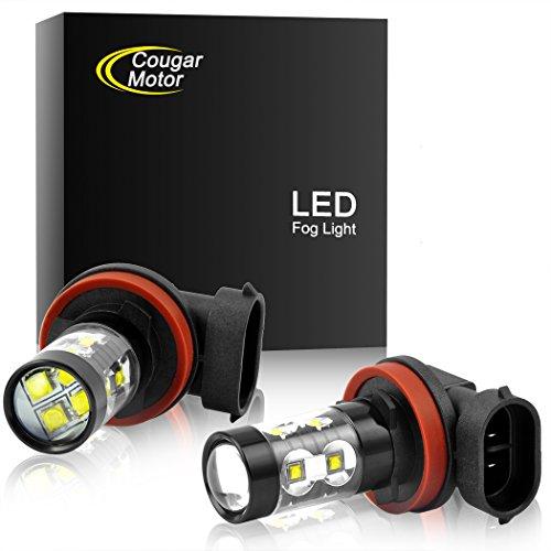 Cougar Motor H11 H8 CREE LED Fog Light/DRL Bulbs - 30W 5000K Bright White (Pack of two bulbs)