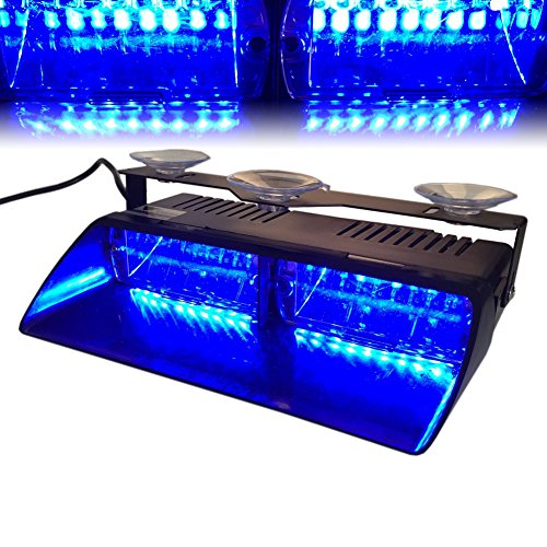T Tocas (tm) ad alta intensità 16 Law Enforcement LED Emergenza Strobe Light Bar per auto camion Interni/Dash/parabrezza con Ventose, 18 Modalità flash (blu)