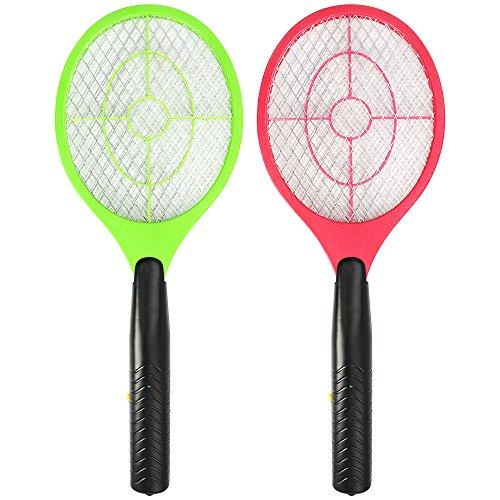 com-four® 2X Elektronische Fliegenklatsche - Insektenvernichter - Fliegenfalle in Schläger-Form [Auswahl variiert] (02 Stück - farblich Sortiert)