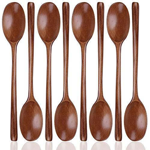 8 Pieces Wood Soup Spoons, SourceTon Wooden Ladle Spoon Set for Cooking Mixing Stirring Honey Tea Soda Dessert Coconut Bowl Nonstick Pots Kitchen- 9 Inch