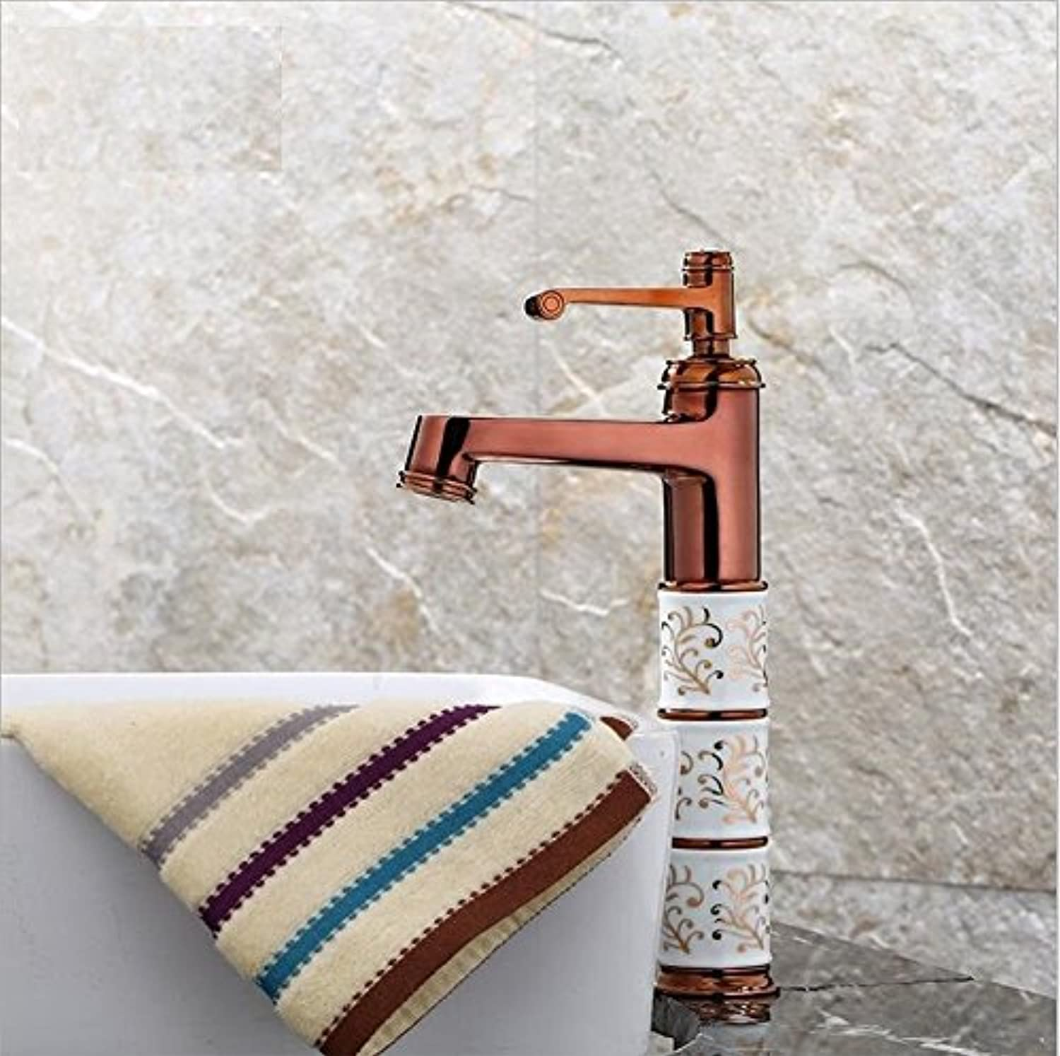 OYZY pink gold face Water Faucet All Copper Bathroom Faucet