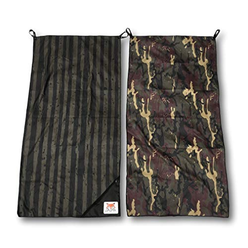 DryFoxCo Quick-Dry Compact Travel Towel with Water-Resistant Zip Pocket for Valuables- Sand-Free, Lightweight, XL Size, Reversible, Soft- Beach, Camping, Swim, Sports (Camo)