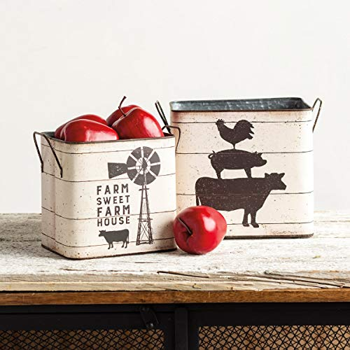 Best Deals! Primitives By Kathy Farm Sweet Farm House Metal Paper Tin Buckets Standing Planters