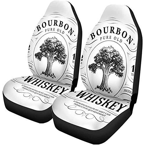 Enoqunt Autostoelhoezen, label, vintage, whisky, eiken, alcohol, bourbon, acorn, sterk set van 2 beschermers