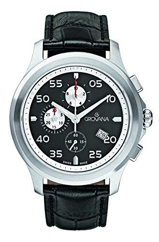 GROVANA 1633,9537-Orologio da uomo al quarzo con Display con cronografo e cinturino in pelle nera 1633,9537
