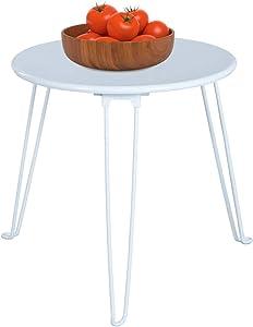 Green Forest Tavolino Rotondo, Tavolini da caffè, Tavolini da Salotto in Metallo Tavolini da tavolino per Cucina Domestica, 48 X 48 X 40 CM, Bianco