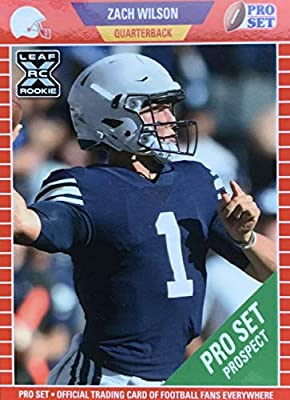 Zach Wilson 2021 Pro Set Leaf XRC Short Printed Mint Rookie Card #PS5 picturing him in his Blue BYU Jersey