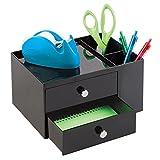 mDesign - Organizador de suministros de oficina / Organizador de escritorio; organiza abrochadoras, tijeras, lapiceras, marcadores, resaltadores, anotadores - 2 cajones - Negro