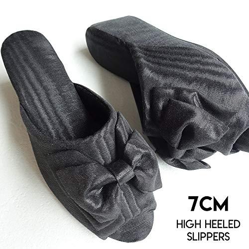 モアレリボン ヒールスリッパ ブラック ヒール7cm/レディースMサイズ【高級木ヒール使用・日本製】