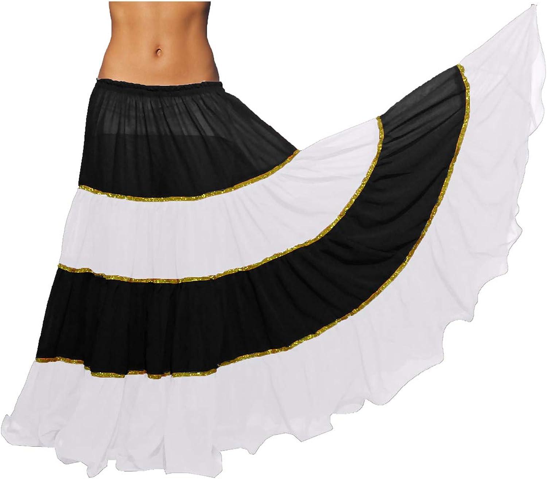 Meek Mercery 16 Yard 4 Tiered Circumference Skirt Belly Dancing Skirt ATS Flowing Skirt C6