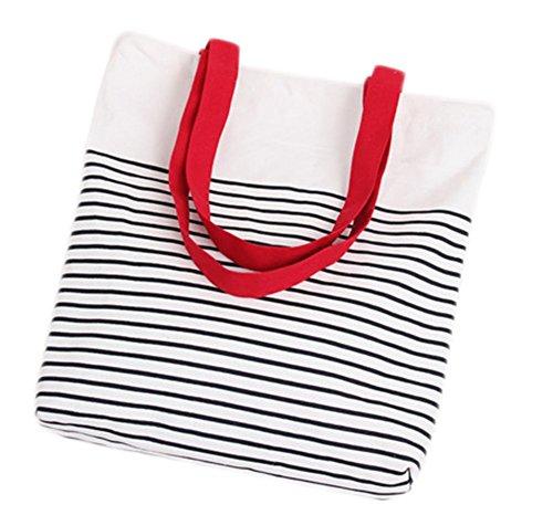 MoGist Bolso de playa de lona, bolso de hombro sencillo con estampado de rayas, bolso de mano con cremallera para mujer, bolso de la compra, bolso de hombro (rojo)
