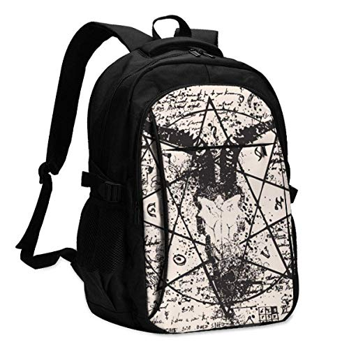 IUBBKI Bolsa para computadora mochila USB Vector Banner with Illustration of Goat Skull and Pentagram Office & School Supplies with USB Data Cable and Music Jack Laptop Bags Computer Notebook 18.1X13.