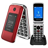 Ushining 3G Unlocked Flip Phone Dual Screen Dual SIM Mobile Phones Easy-to-Use Flip Cell Phone with Charging Dock (Red)