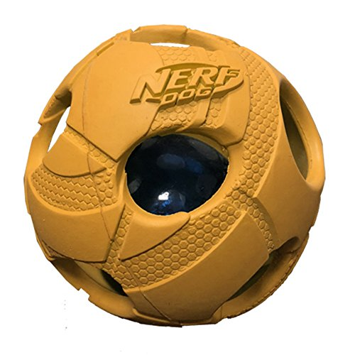 Nerf Dog Bash Ball Dog Toy with Interactive LED Lightweight Durable and Water Resistant 35 Inches for Medium/Large Breeds Single Unit Orange