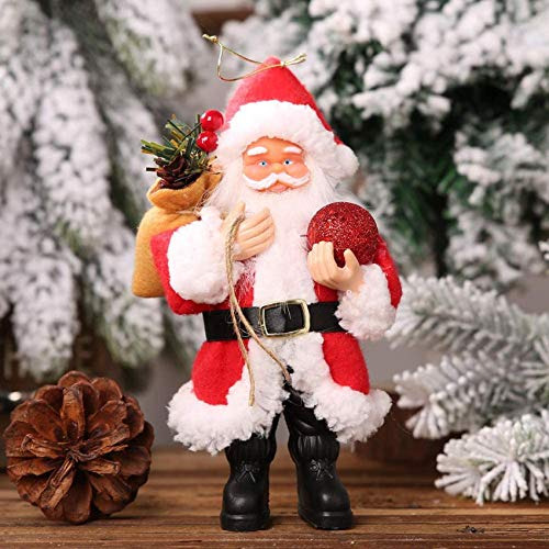 Christmas Decoration, Xmas Decoration Ornament Father Christmas Santa Santa Claus Resin Doll Pendant Standing Doll Small Doll Ornament Decoration Supplies (20 12cm,Red Green)