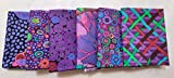 6 (six) Kaffe Fassett Fat Quarters FQ 18 x 22 Cotton Quilt Fabric - Purple ver. 15