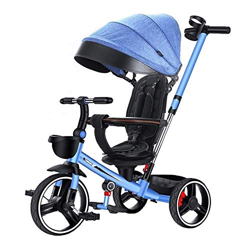 Check Out This Tricycle 4 in 1 Kids Bicycle Light Kid Stroller Folding Kids Car Seat Swivel Safety F...