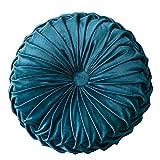 YNester Round Floor Cushions Pillow, Solid Color Velvet Meditation Cushion Pumpkin Pleated Meditation Pillow for Home Sofa Bed Car Decor Floor Pillow Cushion (Blue)